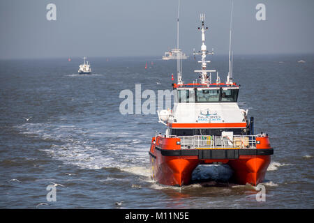 North Sea island Norderney, Ostfriesland, offshore utility ship North Balder, the company Njord Offshore, brings - Stock Photo