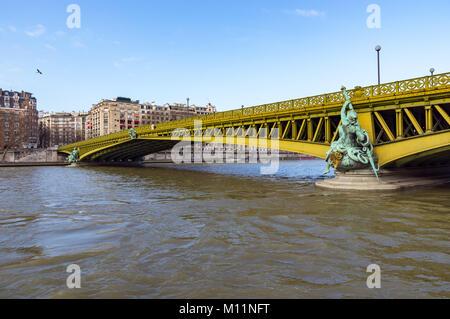 Pont Mirabeau over the Seine - Paris France. - Stock Photo