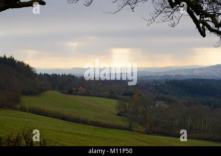 Rolling Devon Farmland Patchwork. Looking Towards Dartmoor, from Haldon Forest. Winter, 2015. - Stock Photo
