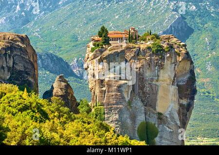 Monastery of the Holy Trinity, Meteora, Greece - Stock Photo