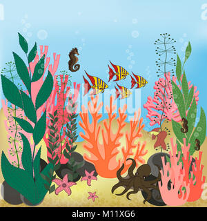 Underwater landscape with water plants and swimming fishes. - Stock Photo