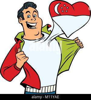 Singapore patriot male sports fan flag heart. isolated on white background. Comic book cartoon pop art retro illustration - Stock Photo
