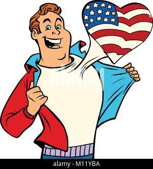 USA patriot man isolated on white background. Comic cartoon style pop art illustration vector retro - Stock Photo