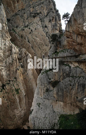 Camino or Caminito del Rey.a hiking route or boardwalk along the gorge in El Chorro, Málaga Spain.2,9 km distance. - Stock Photo
