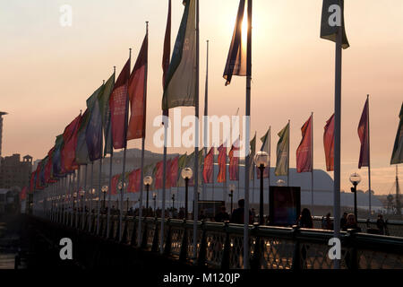 banners pyrmont bridge darling harbour sydney new south wales australia - Stock Photo