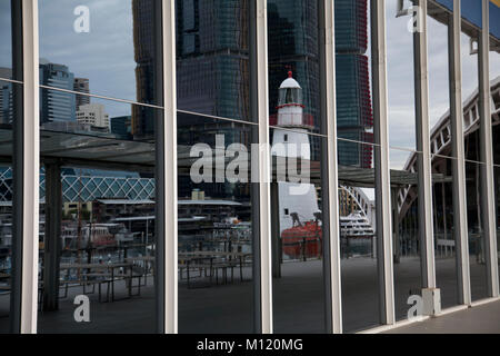 reflection of lighthouse australian national maritime museum darling harbour sydney australia - Stock Photo