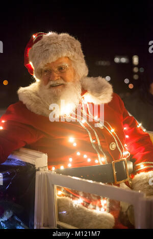 Germany, Cologne, the Christmas parade Vagalume at the Rheinau harbor, fairy, Christmas angel, gnomes and other - Stock Photo