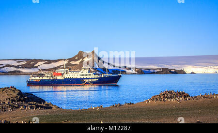 Blue antarctic cruise ship in the lagoon and Gentoo penguins colony on the shore of Barrientos island, South Shetland - Stock Photo