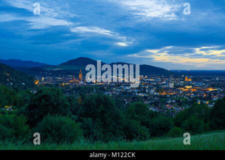 City view at dusk,Freiburg im Breisgau,Baden-Württemberg,Germany - Stock Photo