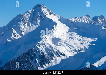 Mountain Ahornspitze in winter,Zillertaler Alps,Mayrhofen,Zillertal,Tyrol,Austria - Stock Photo