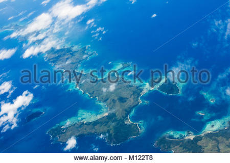 Aerial view of some Fiji Islands - Stock Photo