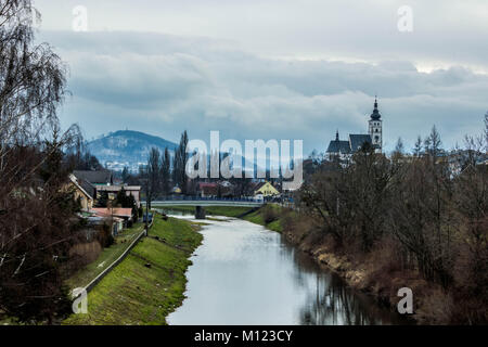 Town Pribor in winter, view of a river - Stock Photo
