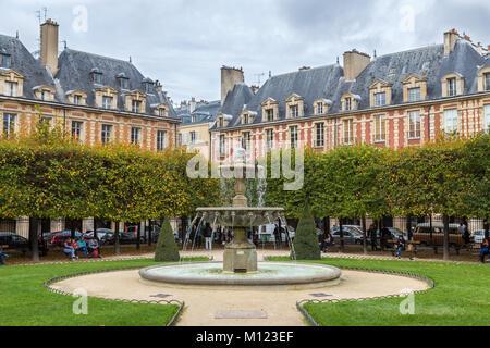 Fountain,Place des Vosges,Paris,France - Stock Photo