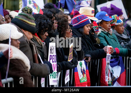 Protestors gather in a rally against racism in opposition to President Trump's disparaging comments about Haiti - Stock Photo