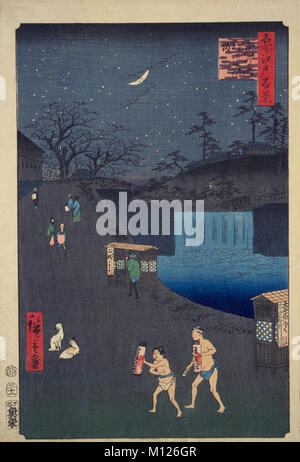 One Hundred Famous Views of Edo, Aoi Slope outside Toranomon gate, by Utagawa Hiroshige, Edo Period, Private Collection - Stock Photo