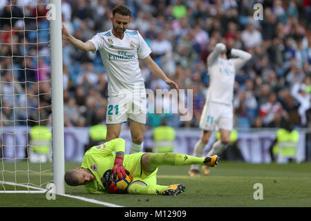 MADRID, SPAIN. January 21, 2018 - Ruben Martinez with the ball and Borja Mayoral next to him. Doubles for Cristiano - Stock Photo