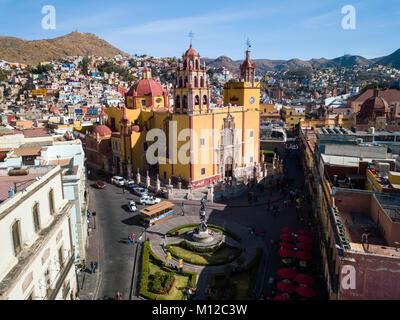 Basilica Colegiata de Nuestra Senora de Guanajuato, or Basilica of Our Lady of Guanajuato, Mexico - Stock Photo