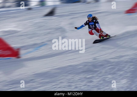 Snowboard Giant Slalom Competition.  Female competitor. Motion blur. Rogla ski resort, Slovenia. - Stock Photo