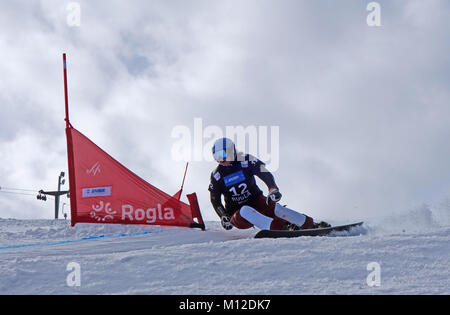 Stefanie Mueller of Switzerland competes in the Snowboard Ladies' Parallel Giant Slalom Qualification. Rogla ski - Stock Photo