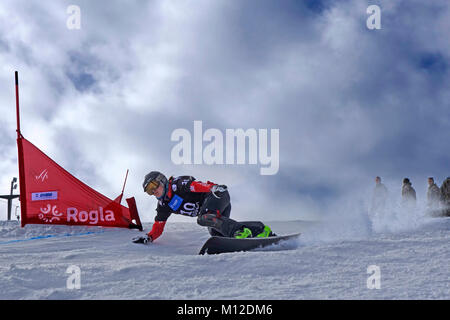 Snowboard Giant Slalom Competition. Rogla ski resort, Slovenia. - Stock Photo
