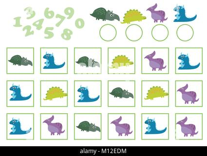 Vector Illustration of Education Counting Game with cartoon dinosaur - Stock Photo