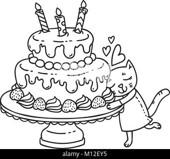 coloring book coloring page cake sweet bakery pattern set Cat Face Cake birthday cake with candle and cute cat isolated objects on white background vector illustration