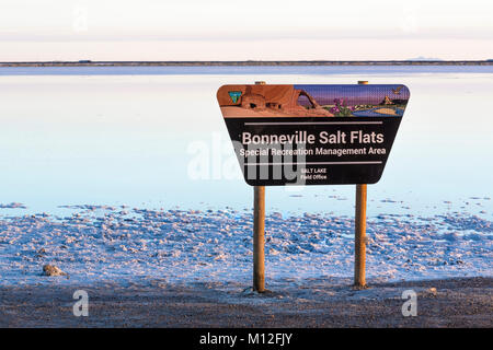 Sign for the Bonneville Salt Flats Special Recreation Management Area, which is BLM land where quests for land speed - Stock Photo