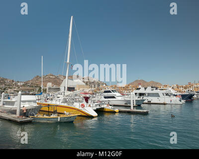 Luxury Sailboats And Motor Yachts Boats Moored In Cabo San Lucas Marina Mexico - Stock Photo