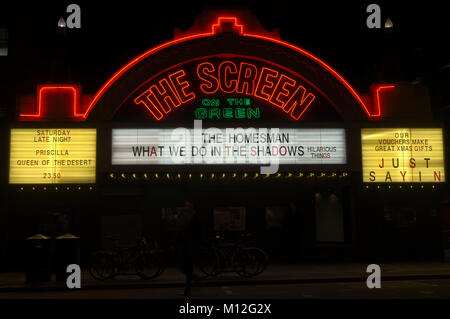 Neon sign for The Screen on the Green cinema on Islington Green at night. - Stock Photo