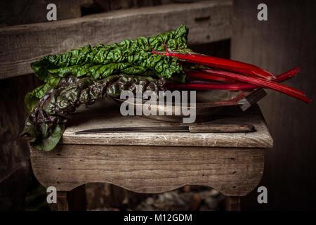 Swiss Chard leaves - leaf beet -vegetable - Stock Photo