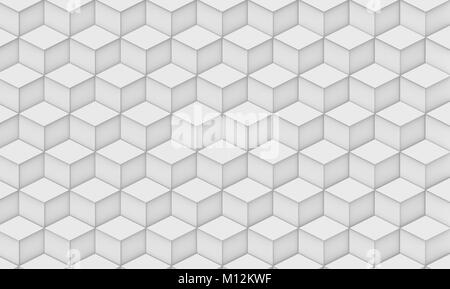Geometric 3d render background, cube pattern decorative wallpaper in white - Stock Photo