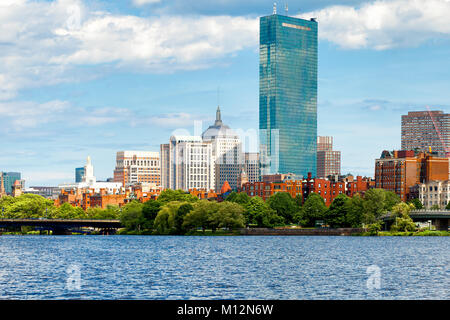 Boston skyline, waterfront and historic Bay Bay neighborhood viewed from the Charles River.