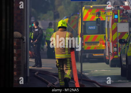 Emergency Services at the dcene of a Bingo Hall fire in Armley, Leeds. - Stock Photo