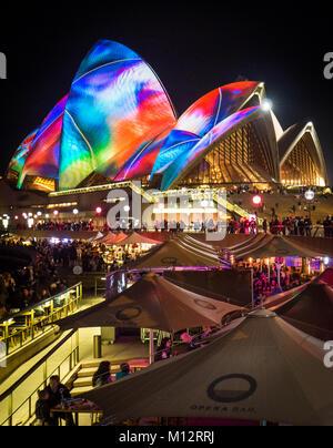 Sydney Opera House illuminated at VIVID light Festival 2017, Circular Quay, Sydney - Stock Photo