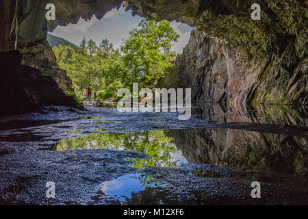 Rydal Cave - Taken from inside the Rydal cave located in the national park near Lake Grasmere, in the UK Lake District - Stock Photo