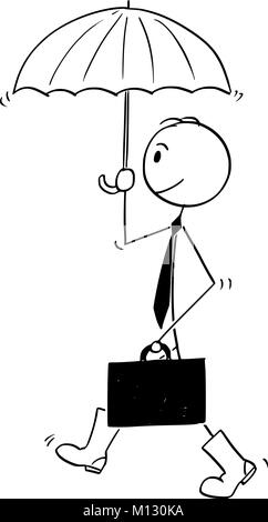 Conceptual Cartoon of Businessman Ready for Crisis - Stock Photo