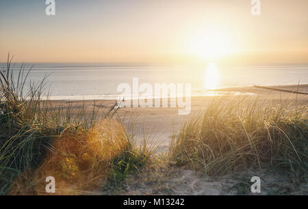 View to the beach at a summer sunset. - Stock Photo