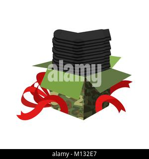 Stack of socks and ribbon. Traditional gift for men on February 23. Day of Defender of Fatherland in Russia. - Stock Photo