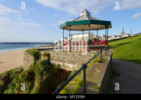The bandstand on Castle Hill in winter sunshine, Tenby, Pembrokeshire, Wales, UK - Stock Photo