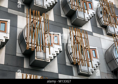 Close up of think pods or contemplation spaces in modern architecture of Scottish parliament building, Holyrood, - Stock Photo