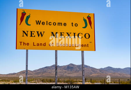 NEW MEXICO, USA - OCTOBER 26, 2017:  Welcome to New Mexico sign along the highway at the state border. - Stock Photo