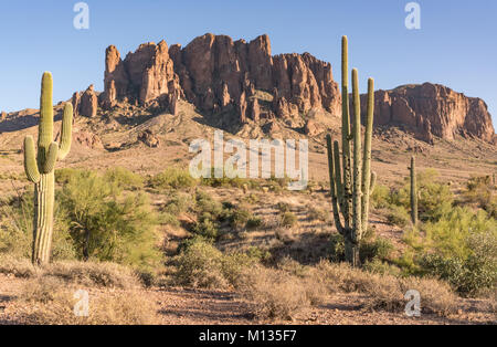 Superstition Mountains in Lost Dutchman State Park outside of Phoenix, Arizona - Stock Photo