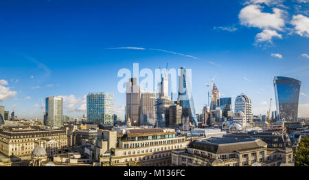 London City commercial property, UK, 25th January 2018. Skyline rooftop view of iconic modern commercial real estate - Stock Photo