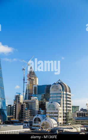 London commercial real estate, UK, 25th January 2018. Skyline rooftop view of iconic modern buildings and property - Stock Photo