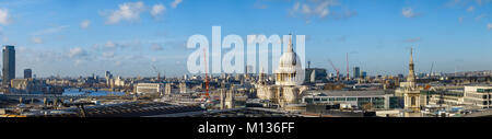 London, UK, 25th January 2018. Panoramic skyline rooftop view of properties westwards from the City over London - Stock Photo