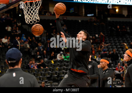 Denver, USA. 25th Jan, 2018. New York Knicks center Willy Hernangomez warms up prior to the game against the Denver - Stock Photo