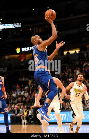 Denver, USA. 25th Jan, 2018. New York Knicks guard Jarrett Jack goes up for a shot during the first quarter at the - Stock Photo