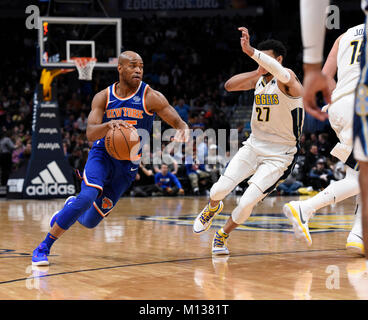 Denver, USA. 25th Jan, 2018. New York Knicks guard Jarrett Jack (L) drives in against Denver Nuggets guard Jamal - Stock Photo