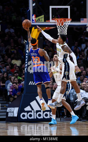 Denver, USA. 25th Jan, 2018. New York Knicks guard Trey Burke (L), shoots over Denver Nuggets forward Trey Lyles - Stock Photo