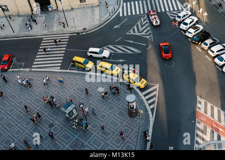 Prague,  Czech Republic - August 18, 2017: Top view of street of historic centre of Prague from Powder tower - Stock Photo